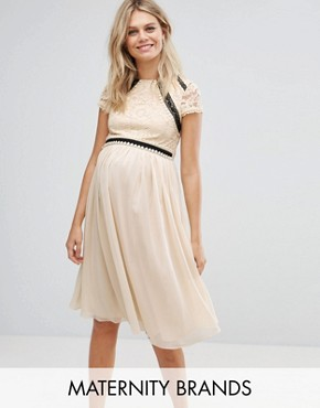 photo Short Sleeve 2 in 1 Lace Skater Dress with Contrast Skirt by Little Mistress Maternity, color Cream - Image 1