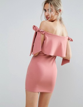 photo Bardot Tie Shoulder Bodycon Dress by Missguided Petite, color Rose - Image 2