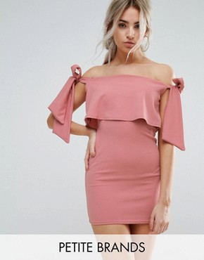 photo Bardot Tie Shoulder Bodycon Dress by Missguided Petite, color Rose - Image 1
