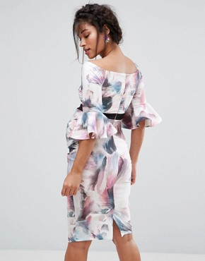 photo Floral Printed Bodycon Dress with Fluted Sleeve by Little Mistress Maternity, color Multi - Image 2