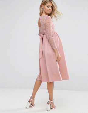 photo Midi Dress with Pearl Embellishment by Little Mistress Maternity, color Pink - Image 2