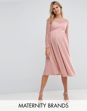 photo Midi Dress with Pearl Embellishment by Little Mistress Maternity, color Pink - Image 1