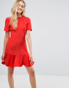 photo Lace Up Back Tea Dress by ASOS TALL, color Red - Image 2
