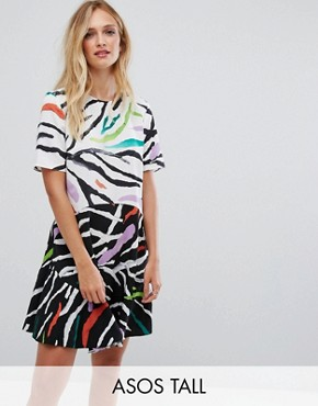 photo Drop Waist Mini Dress in Animal Mix Print by ASOS TALL, color Floral - Image 1