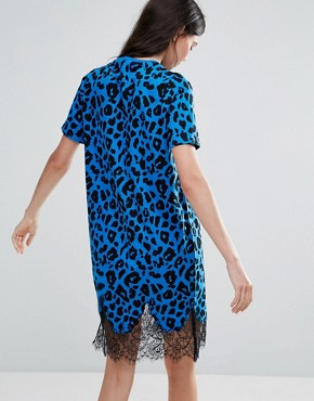 photo T-Shirt Dress with Lace Inserts in Leopard Print by ASOS TALL, color Cobalt - Image 2