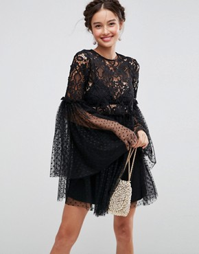 photo Lace and Dobby Mesh Fluted Sleeve Mini Smock Dress by ASOS, color Black - Image 1