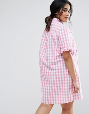 photo Gingham Shirt Dress with Frill Detail by Unique 21 Hero Plus, color Pink - Image 2