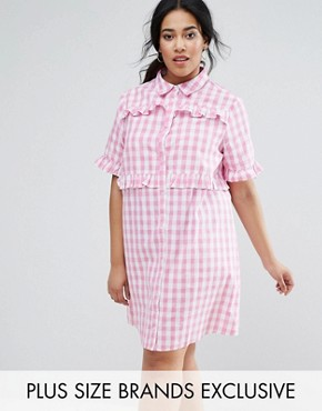 photo Gingham Shirt Dress with Frill Detail by Unique 21 Hero Plus, color Pink - Image 1