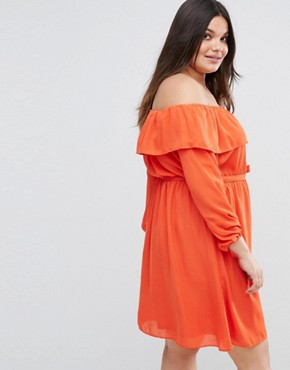 photo Off The Shoulder Ruffle Dress by Lovedrobe, color Tangerine - Image 2