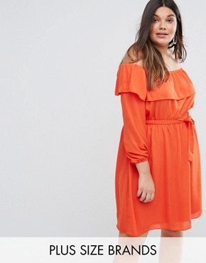 photo Off The Shoulder Ruffle Dress by Lovedrobe, color Tangerine - Image 1