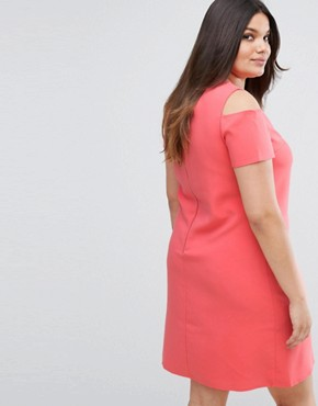 photo Pencil Dress with Zip Back by Lovedrobe, color Coral - Image 2