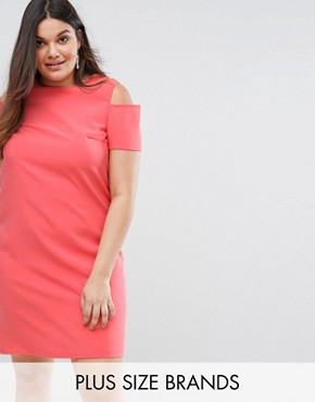 photo Pencil Dress with Zip Back by Lovedrobe, color Coral - Image 1