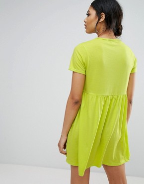 photo T-Shirt Smock Dress by Daisy Street, color Lime - Image 2
