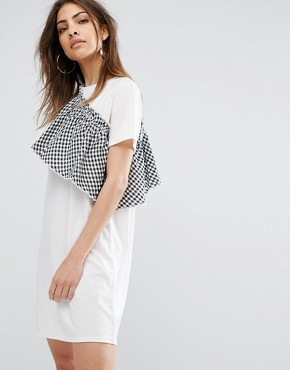 photo T-Shirt Dress with Gingham Ruffle by Daisy Street, color White - Image 1