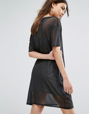 photo Mesh T-Shirt Dress with Gingham Slip by Daisy Street, color Black - Image 2