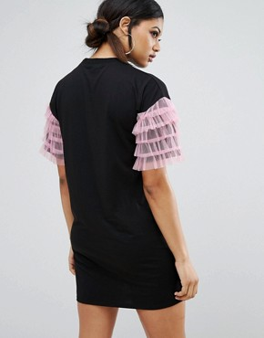 photo T-Shirt Dress with Mesh Sleeve Trim and Rebel Print by Daisy Street, color Black - Image 2