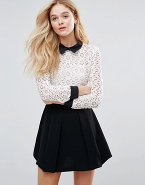 photo Peter Pan Collar Lace Dress by The English Factory, color White/Black - Image 1