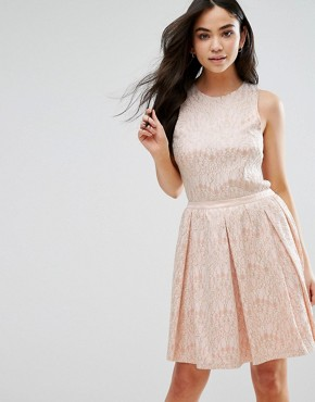 photo Sleeveless Lace Skater Dress by The English Factory, color Peach - Image 2