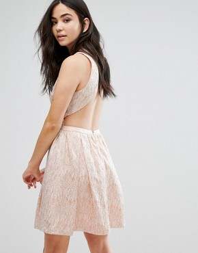 photo Sleeveless Lace Skater Dress by The English Factory, color Peach - Image 1