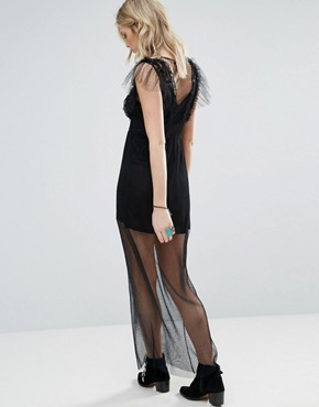photo Frill Mesh Maxi Dress with Detachable Slip by Chandelier, color Black - Image 2