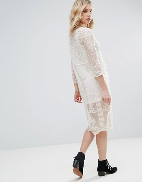 photo Embroidered Mesh Midi Dress with Detachable Slip by Chandelier, color Cream - Image 2