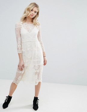photo Embroidered Mesh Midi Dress with Detachable Slip by Chandelier, color Cream - Image 1