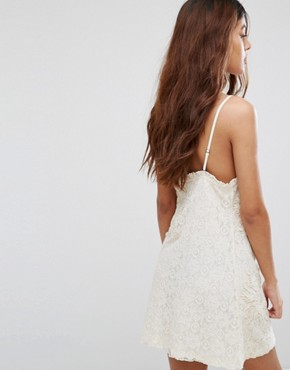 photo Lace Slip Dress with Embroidery and Frill Detail by Chandelier, color Cream - Image 2