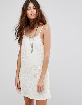 photo Lace Slip Dress with Embroidery and Frill Detail by Chandelier, color Cream - Image 1