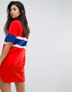 photo Oversized Varsity T-Shirt Dress by Fila, color Red - Image 2