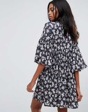 photo Floral Smock Dress with Frill Detail by QED London, color Multi - Image 2