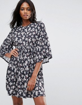 photo Floral Smock Dress with Frill Detail by QED London, color Multi - Image 1
