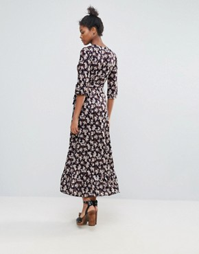 photo Floral Ruffle Detail Wrap Maxi Dress by QED London, color Multi - Image 2
