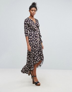 photo Floral Ruffle Detail Wrap Maxi Dress by QED London, color Multi - Image 1