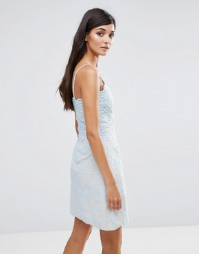 photo Lace Wiggle Mini Dress by Aijek, color Blue - Image 2