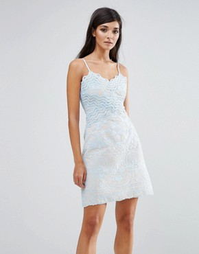 photo Lace Wiggle Mini Dress by Aijek, color Blue - Image 1
