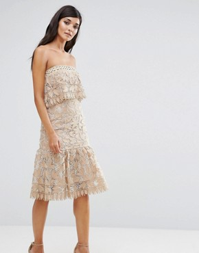 photo Lace Double Layer Bandeau Dress with Peplum Hem by Aijek, color Cream - Image 1