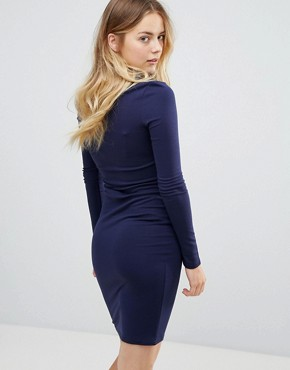 photo Long Sleeve Dress with Gold Button Detail by Brave Soul, color Mignight Blue - Image 2