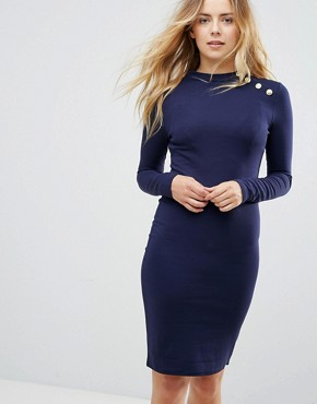 photo Long Sleeve Dress with Gold Button Detail by Brave Soul, color Mignight Blue - Image 1