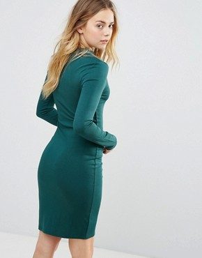 photo Long Sleeve Dress with Gold Button Detail by Brave Soul, color Forest Green - Image 2