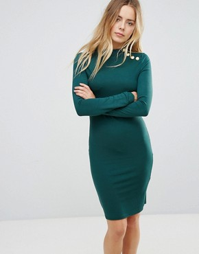photo Long Sleeve Dress with Gold Button Detail by Brave Soul, color Forest Green - Image 1