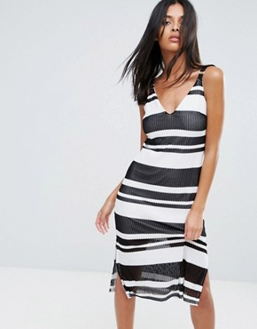 photo Sprint Stripe Midi Dress by A State Of Being, color Black White - Image 1