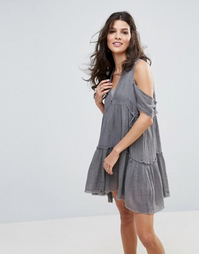 photo Gauze Indus Cold Shoulder Dress by Free People, color Grey - Image 1