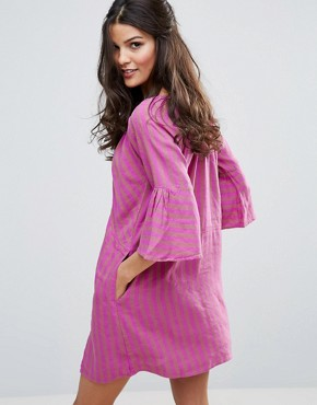 photo Fol Town Linen Dress by Free People, color Purple Combo - Image 2