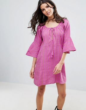 photo Fol Town Linen Dress by Free People, color Purple Combo - Image 1