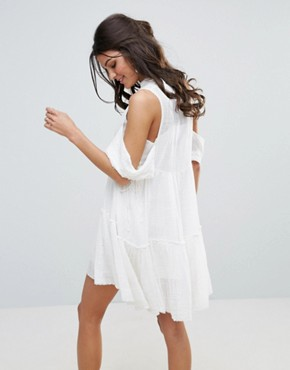 photo Gauze Indus Cold Shoulder Dress by Free People, color Cream - Image 2
