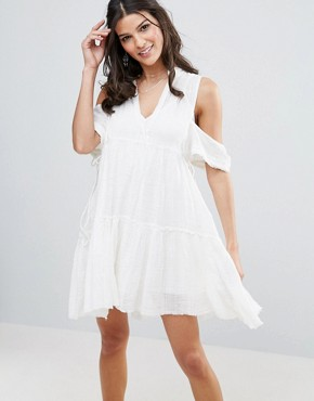 photo Gauze Indus Cold Shoulder Dress by Free People, color Cream - Image 1