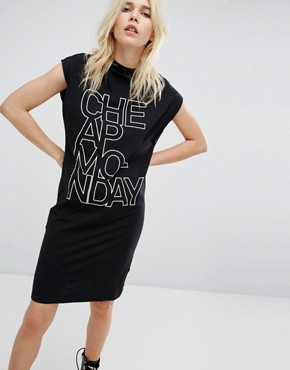 photo Concrete Logo High Neck Dress by Cheap Monday, color Black - Image 1