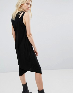 photo Double Layer Ribbed Tank Dress by Cheap Monday, color Black - Image 2