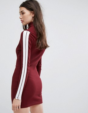 photo Long Sleeve Bodycon Dress with High Neck in Rib by Ellesse, color Burgundy - Image 2