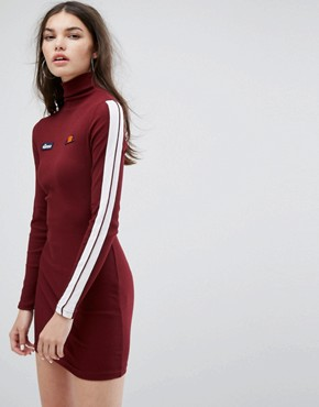 photo Long Sleeve Bodycon Dress with High Neck in Rib by Ellesse, color Burgundy - Image 1